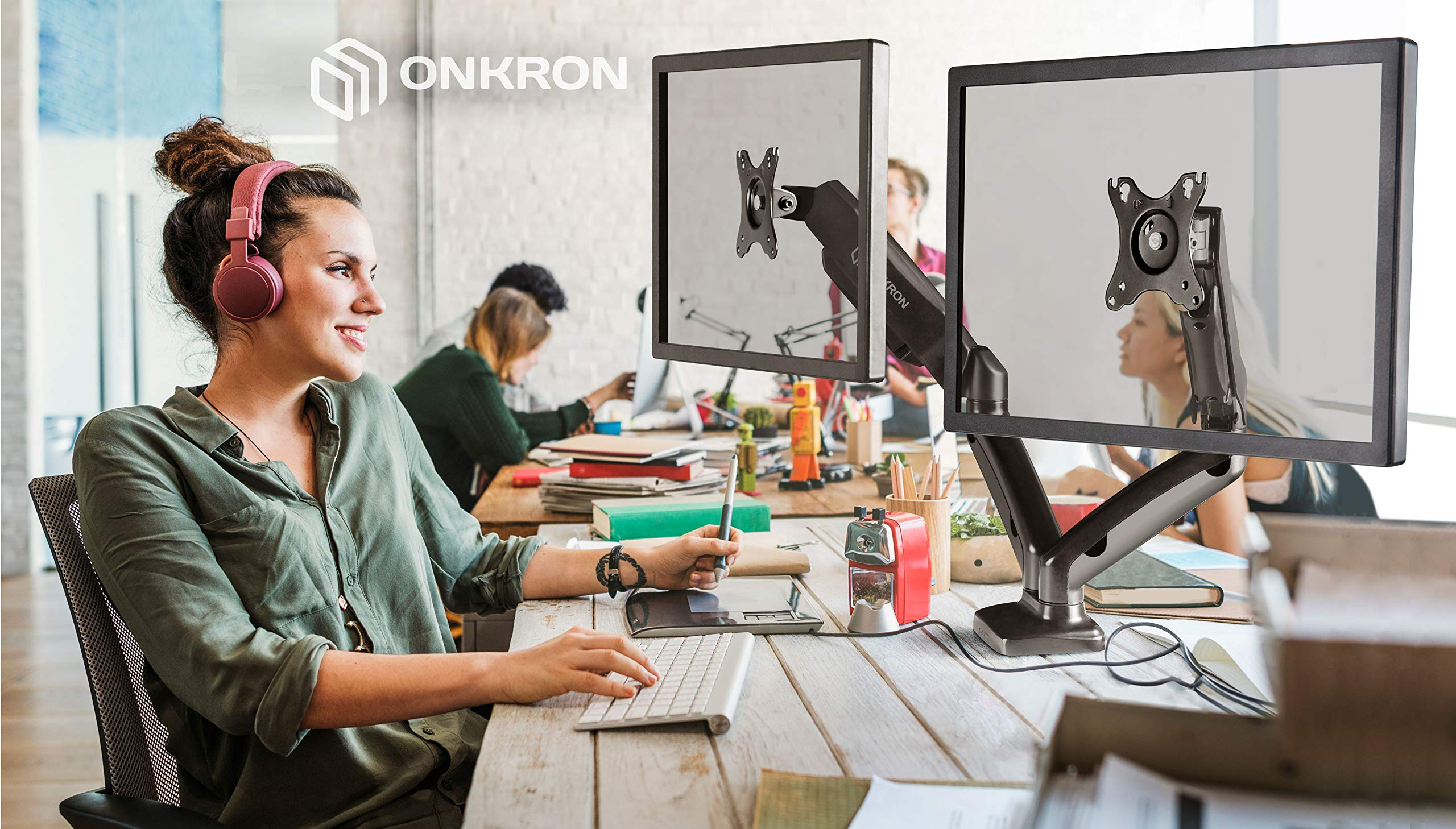 ONKRON Dual Monitor Desk Mount for 13 to 27-Inch LCD LED Computer TV Screens up to 14.3 lbs G160 by ONKRON (Image #6)