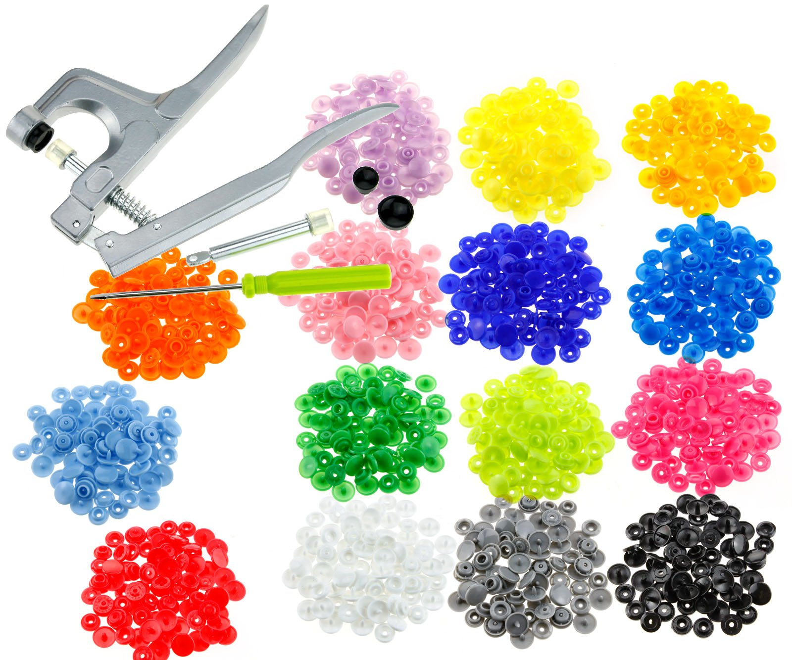 Snap Plier Fastener 150 Set Plastic Button Press Stud for Cloth Baby Bib Diaper by AnOs-HandTools