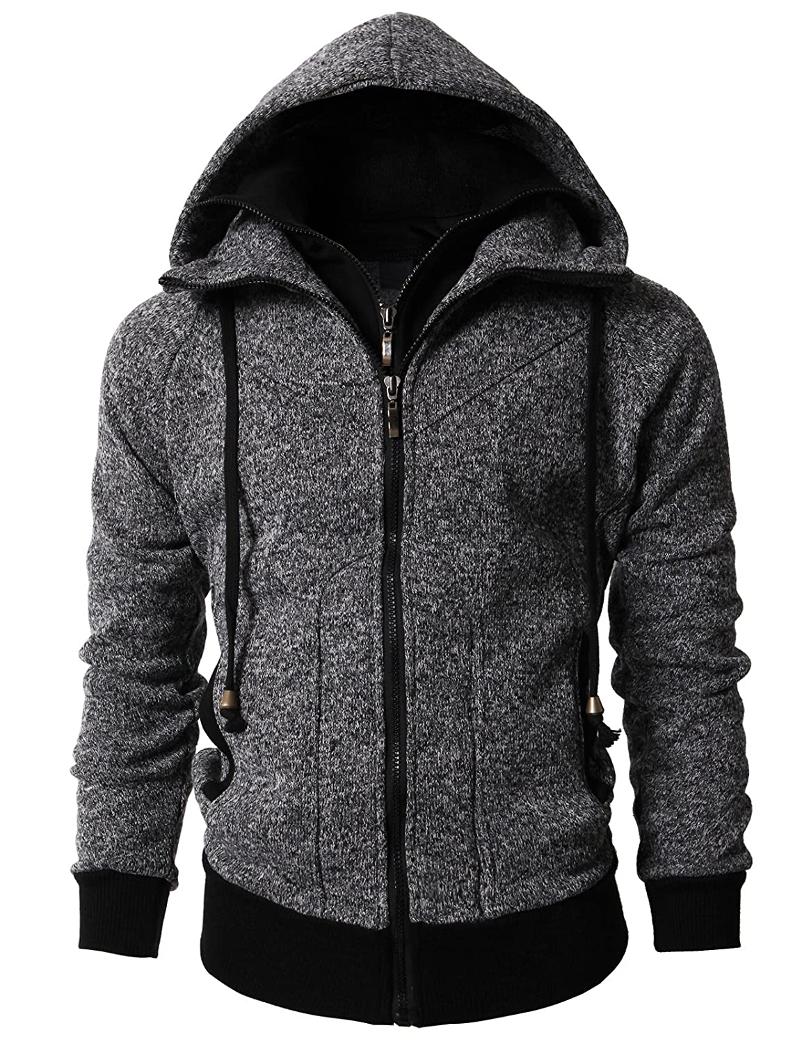 H2H Mens Casual Slim Fit Hoodie Jackets Double Zipper Closer with Pockets