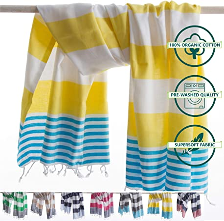 ANATURES Toallas De Playa - De Hammam 95x185cm Marina | Prelavado ...