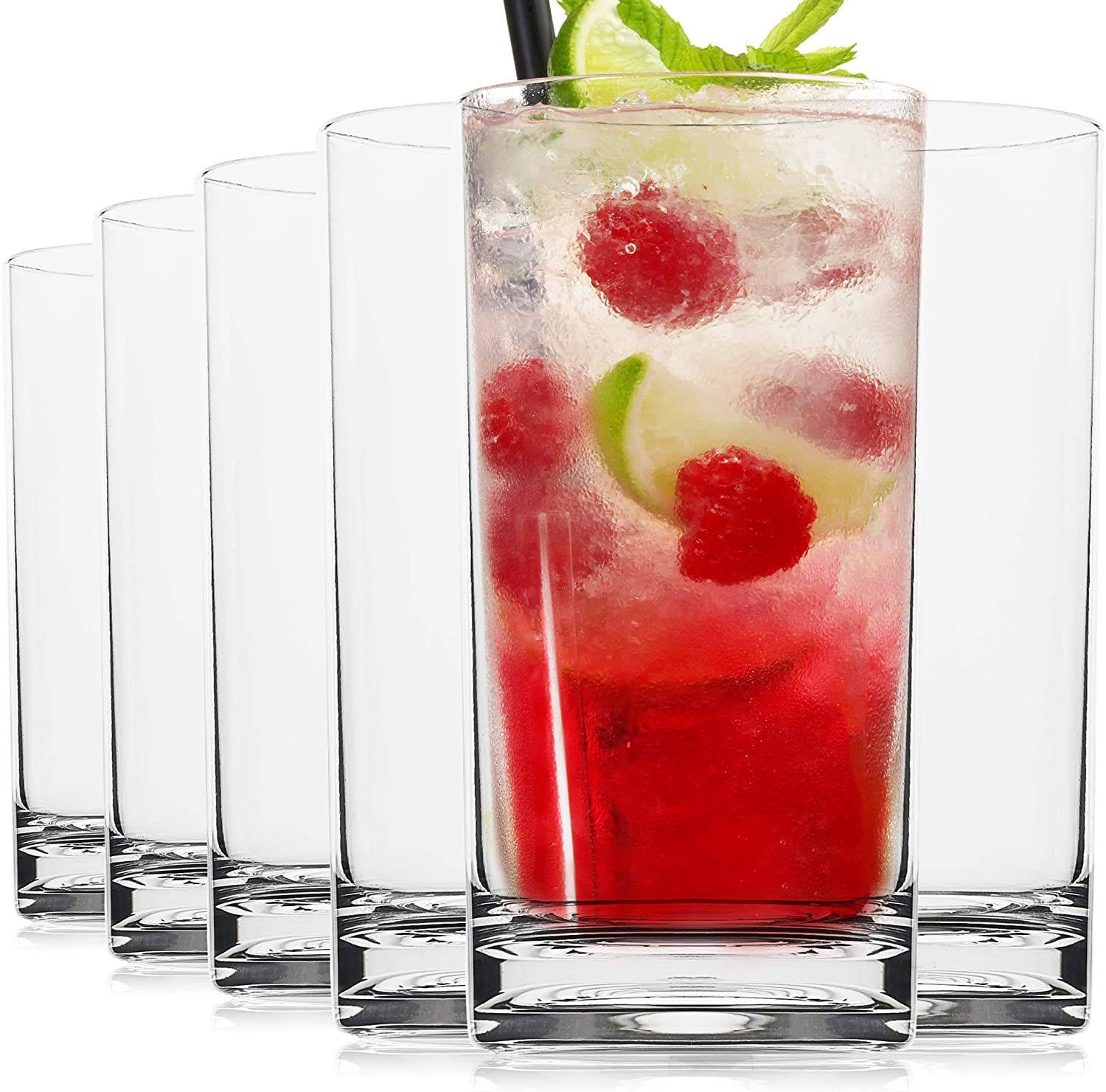 Vivocci Unbreakable Tritan Plastic Water Drinking Glasses 16 oz | Ideal for Juice Beverages & Cocktails | Shatterproof Barware | Highball Tall Clear Cup Tumblers | Dishwasher Safe Drinkware | Set of 6