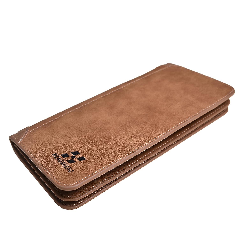 Mens Vintage Leather Wallet Long Slim Bifold Wallets For Men and Boy Card Holder Brown