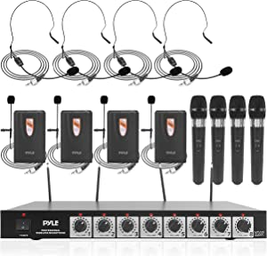 """8 Channel Wireless Microphone System - Professional VHF Audio Mic Set with 1/4"""", XLR Jack - 4 Headset, 4 Clip Lavalier, 4 Handheld Mic, 4 Transmitter, Receiver - For Karaoke PA, DJ - Pyle PDWM8700"""