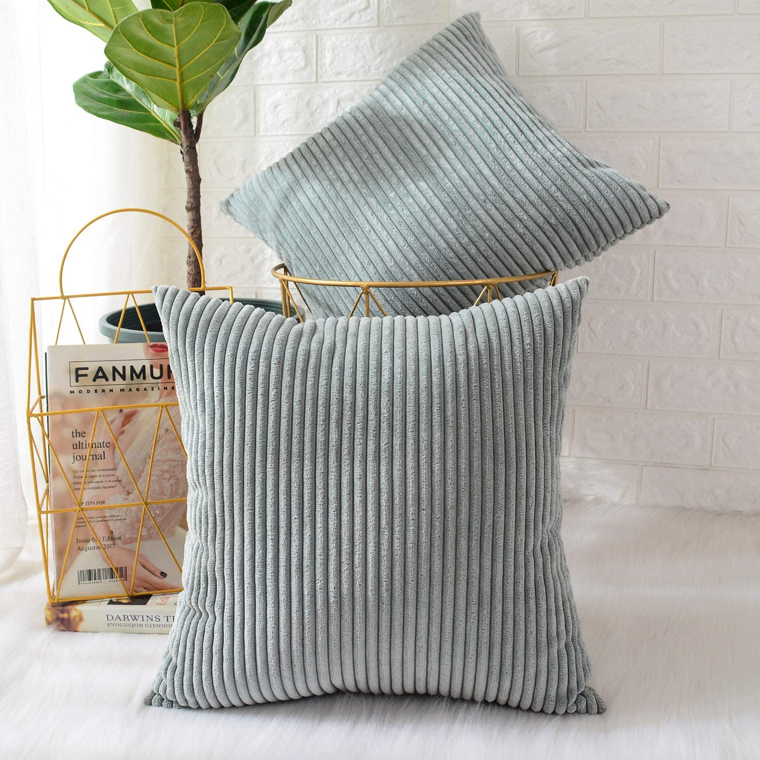 MERNETTE Pack of 2, Corduroy Soft Decorative Square Throw Pillow Cover Cushion Covers Pillowcase, Home Decor Decorations for Sofa Couch Bed Chair 18x18 Inch/45x45 cm (Striped Grey Blue)