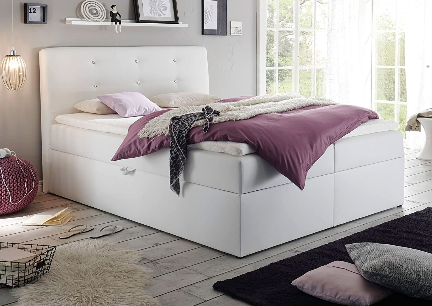 jugendbett wei 140x200 beautiful weiss x ebay boxspring. Black Bedroom Furniture Sets. Home Design Ideas