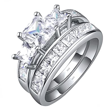 Amazon Com Sterling Silver Three Stone Cz Princess Cut Women S
