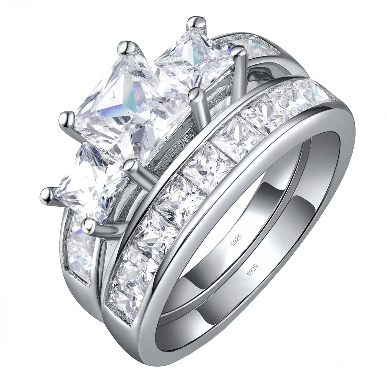 Sterling Silver Three Stone CZ Princess Cut Women's Wedding Engagement Bridal Ring Set Size 10