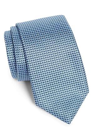 Pastel Blue 50401234 Hugo Boss Geometric Textured Woven Italian Silk Tie