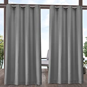 Exclusive Home Curtains EH8112-16-2108G Indoor/Outdoor Solid Cabana Grommet Top Curtain Panel Pair, 54x108, Medium Grey