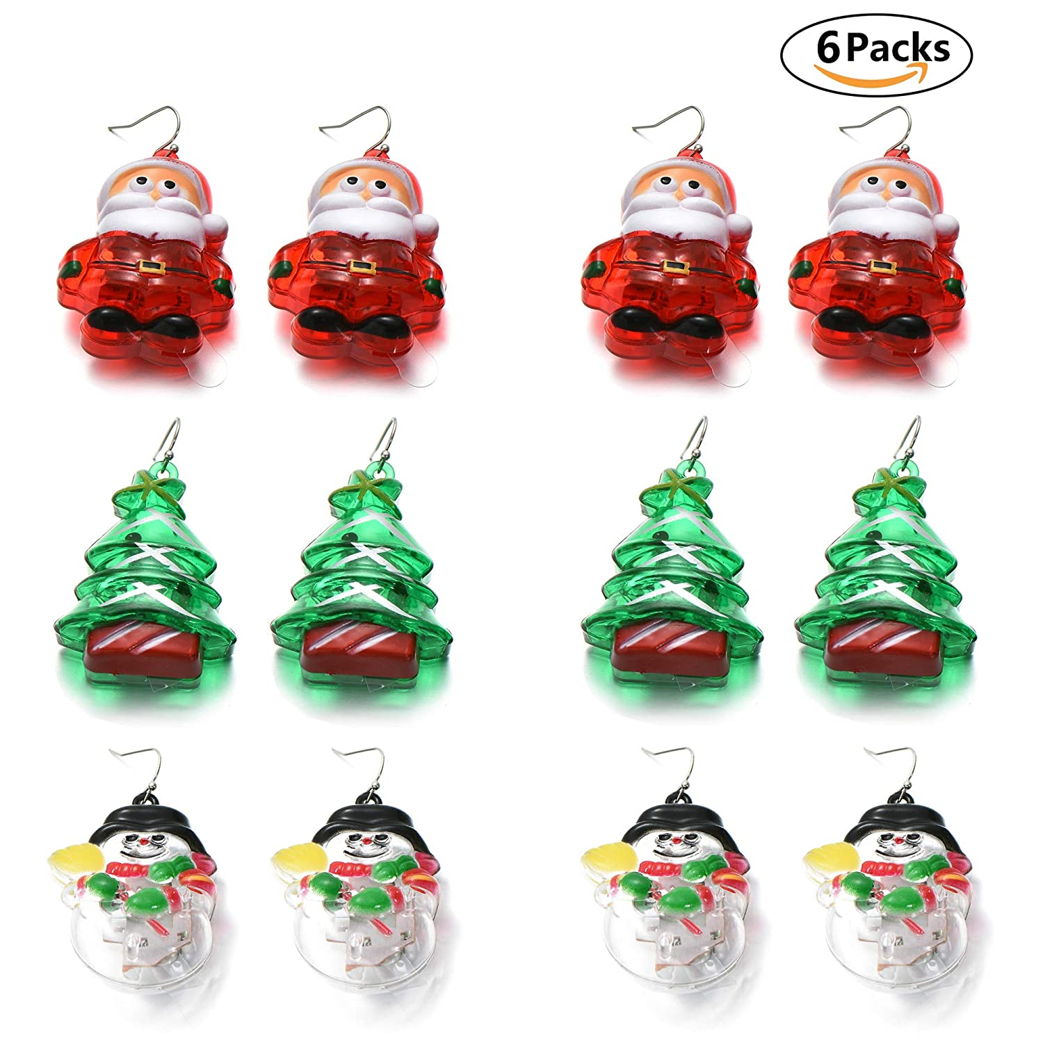 5c52933e8 Amazon.com: OAONNEA 6 Packs LED Light Up Earrings Santa Claus Christmas  Tree Snowman Flashing Earrings Xmas Holiday Party Favors (6-Packs Earrings):  Home & ...