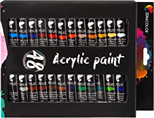 Zenacolor Acrylic Paint Set, 48 Acrylic Paints, 48 Tubes of 0.4 oz (12 mL) - Art Set for Adults and Kids - Craft Supplies Painting Canvas Panels, River Rocks, Glass, Wood, Fabric, Ceramic