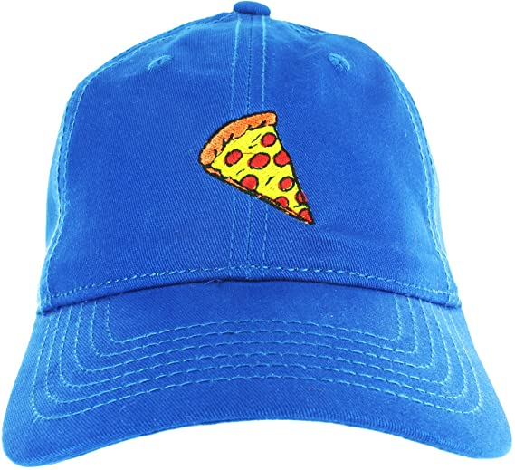 c342776c Dad Hat Cap - Pizza Slice Emoji Embroidered Adjustable Blue Baseball Cap