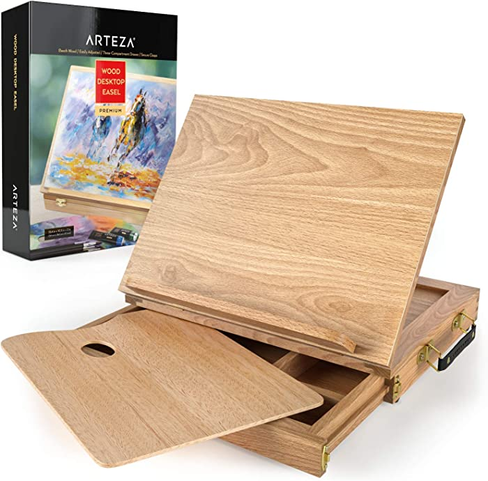 ARTEZA Wooden Desktop Easel with Drawer and Palette, Ideal for Portable Sketching, Drawing, and Painting with a Variety of Mediums
