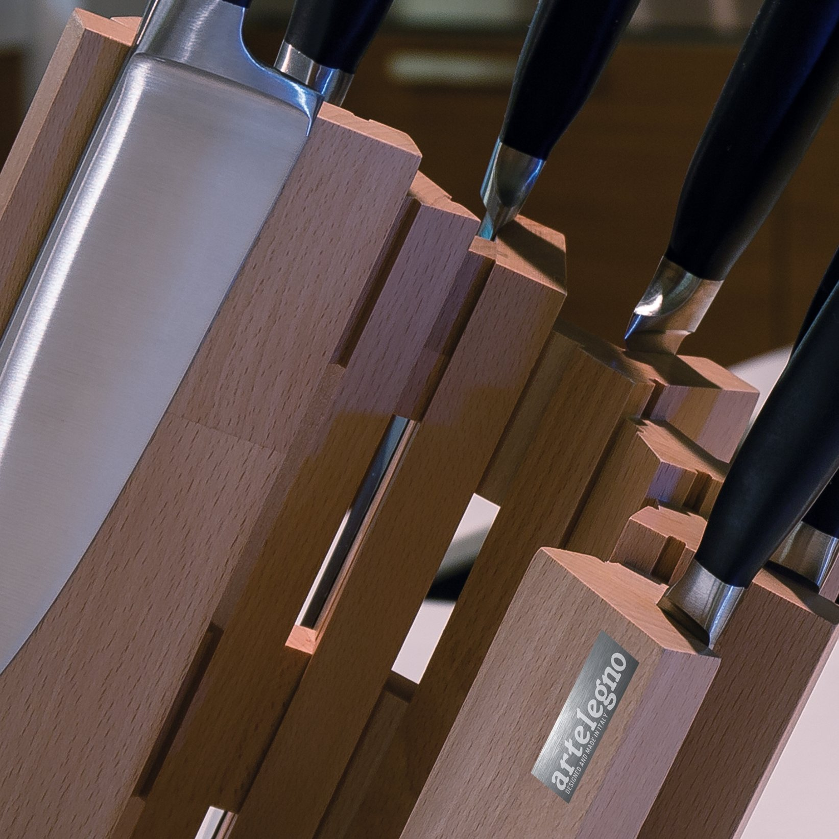 Artelegno Magnetic Knife Block Solid Beech Wood 8 Panel, Luxurious Italian Pisa Collection by Master Craftsmen Displays High-End Knives Elegantly, Eco-friendly, Natural Finish, Small by Arte Legno (Image #6)