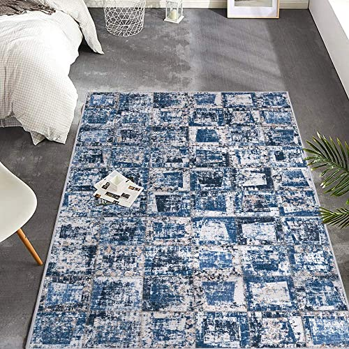 jinchan Colorblock Patchwork Area Rug Low Pile Non-Slip Floorcover Indoor Rugs Mat for Boys Children Bedroom Living Room Rug Blue 4 x 6 7
