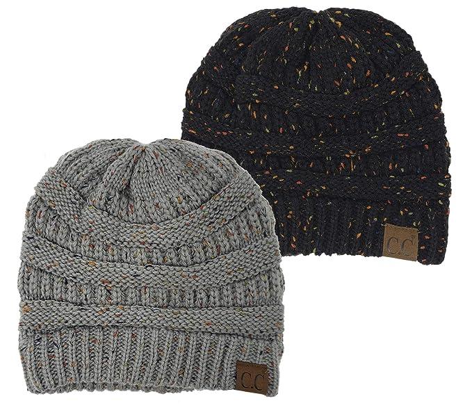 b9eee033f84cf Funky Junque H-6033-2-0676 Confetti Knit Beanie Bundle - 1 Black, 1 ...