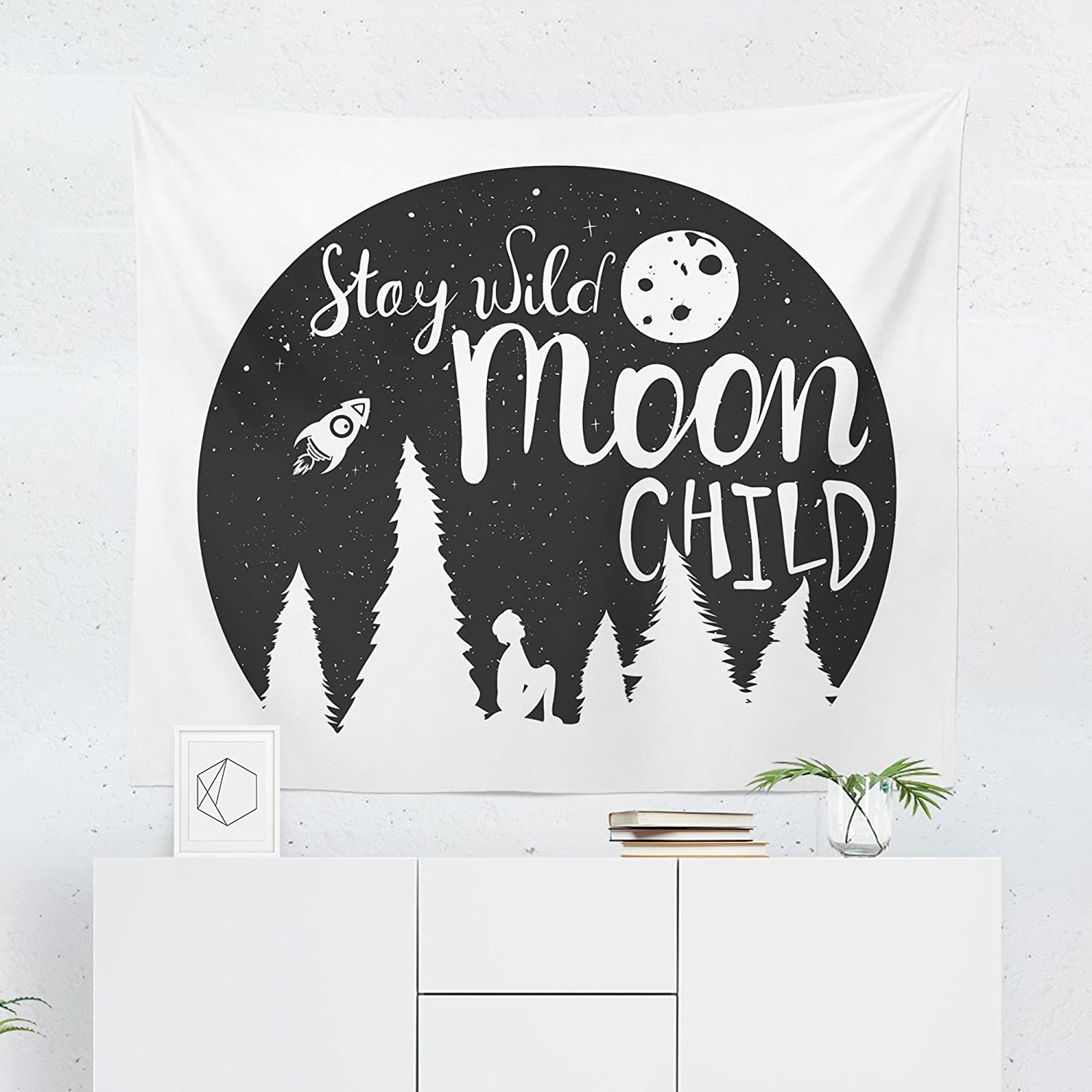 Stay Wild Moon Child Tapestry - Kids Space Rocket Wanderlust Wall Tapestries Hanging Décor Bedroom Dorm College Living Room Home Art Print Decoration Decorative - Printed in the USA