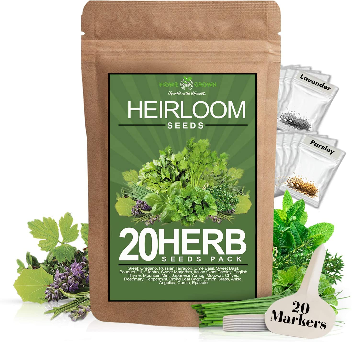 20 Culinary Herb Seed Vault - Heirloom and Non GMO - Seeds for Planting for Indoor or Outdoor Herbs Garden, Basil, Cilantro, Parsley, Chives, Lavender, Dill, Marjoram, Mint, Rosemary, Thyme