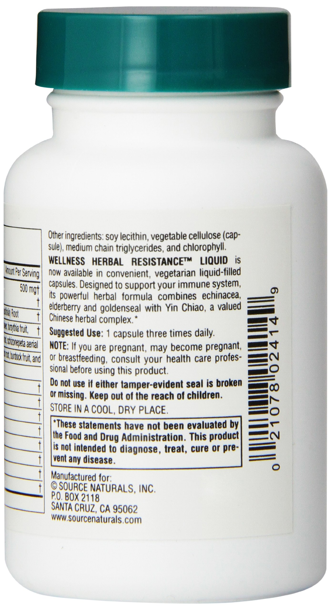 Source Naturals Wellness Herbal Resistance, with Echinacea, Goldenseal & Yin Chiao Immune Support, 60 Liquid Vegetarian Capsules by Source Naturals (Image #3)