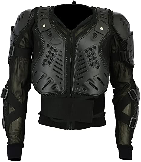 Green Motocross Motorbike Body Armour Motorcycle Protection Jacket Armoured Mountain Cycling Riding Skating Snowboarding Track Crash Guard CE Approved