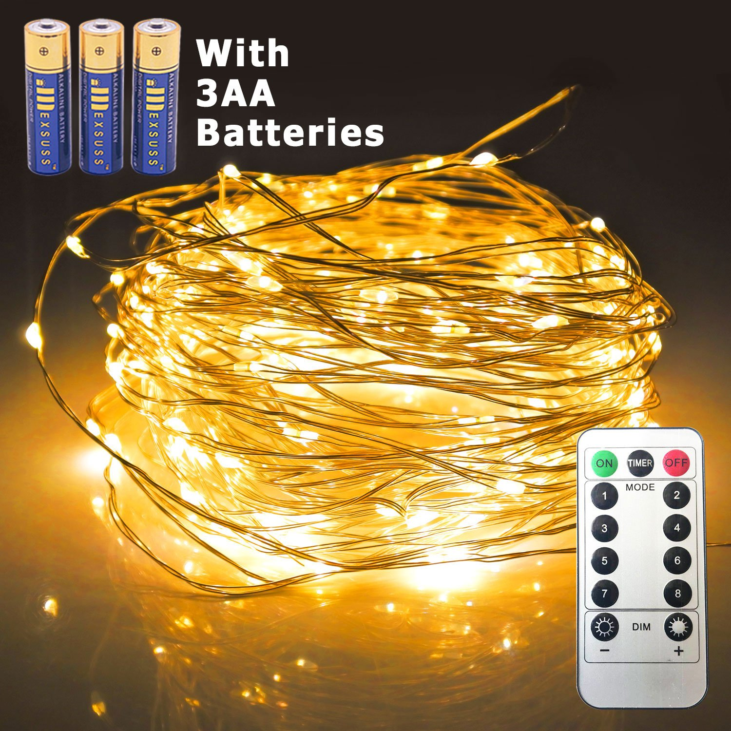 JMEXSUSS 8 Modes Timer Remote Control 200 LED 65.6ft Battery Operated Waterproof Dimmable Fairy String Copper Wire Lights for Christmas, Bedroom, Patio, Wedding, Party, Warm White(200LED+3AA Battery)