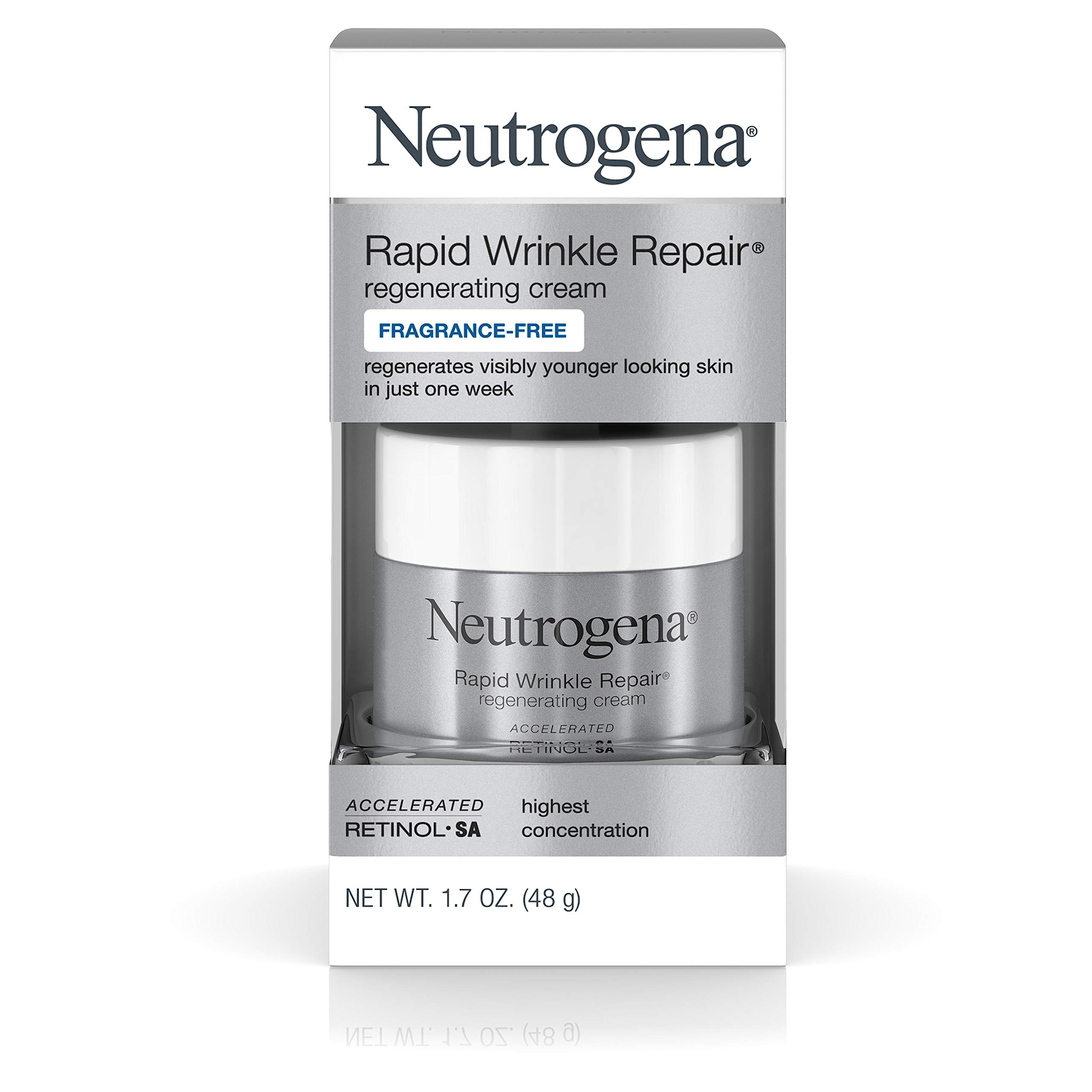 Neutrogena Rapid Wrinkle Repair Hyaluronic Acid Retinol Cream, Anti Wrinkle Cream, Face Moisturizer, Neck Cream & Dark Spot Remover for Face - Day & Night Cream with Hyaluronic Acid & Retinol, 1.7 oz by Neutrogena