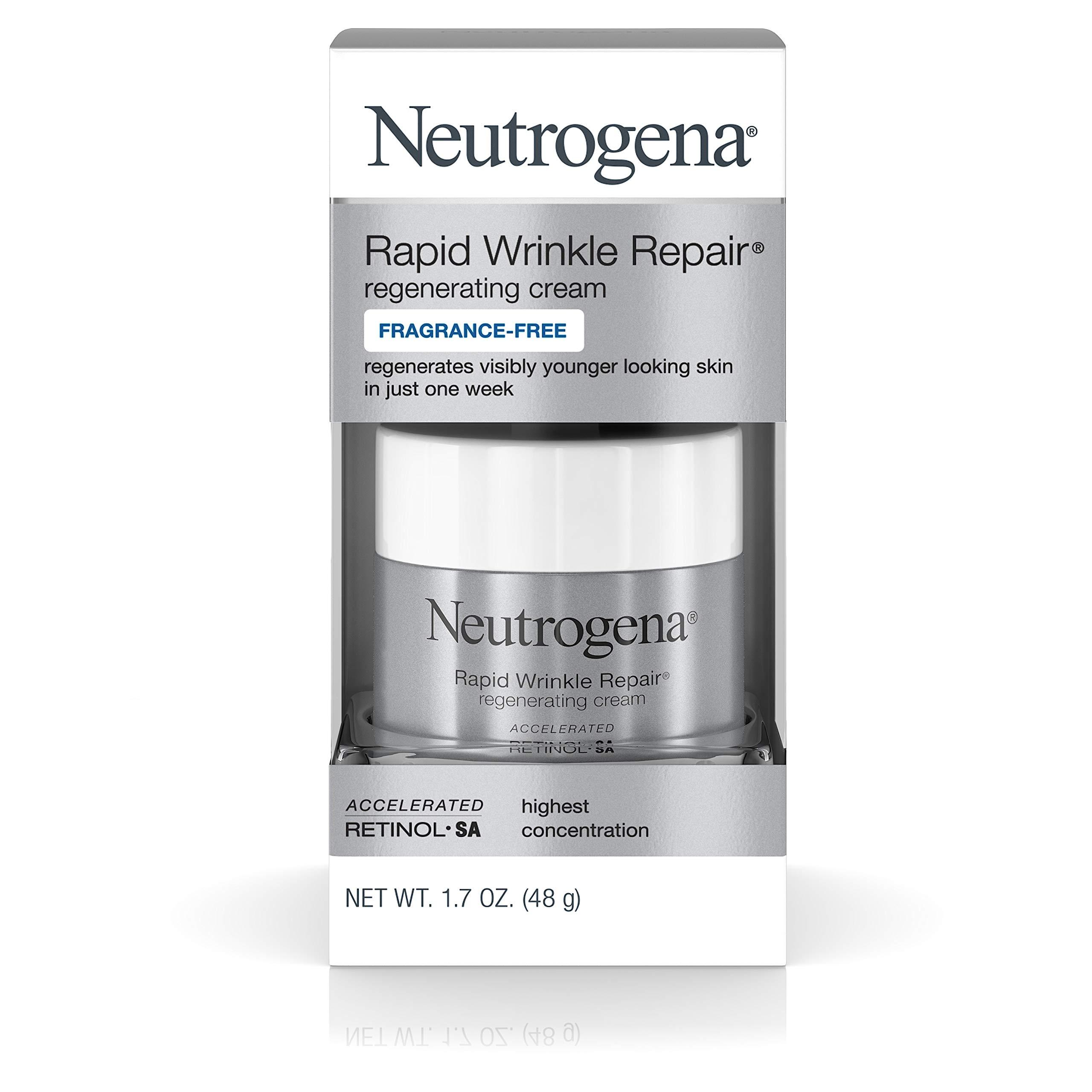 Neutrogena Rapid Wrinkle Repair Hyaluronic Acid Retinol Cream, Anti Wrinkle Cream, Face Moisturizer, Neck Cream & Dark Spot Remover for Face - Day & Night Cream with Hyaluronic Acid & Retinol, 1.7 oz by Neutrogena (Image #1)
