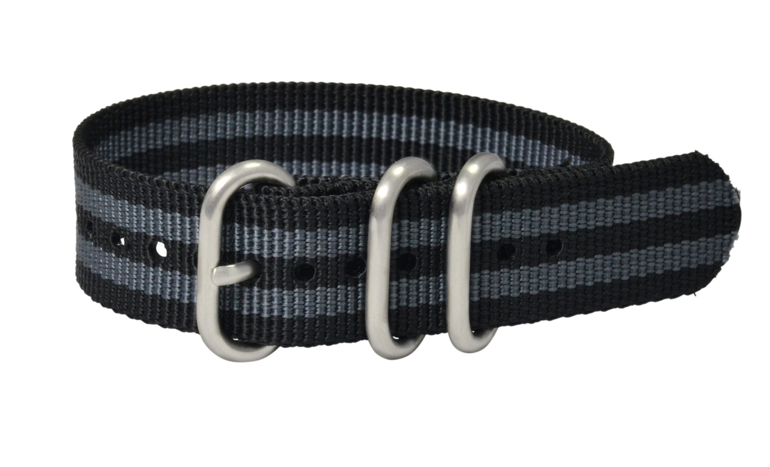 Clockwork Synergy - 3 Ring Heavy NATO Brushed Steel Watch Strap Bands (18mm, Black / Grey)