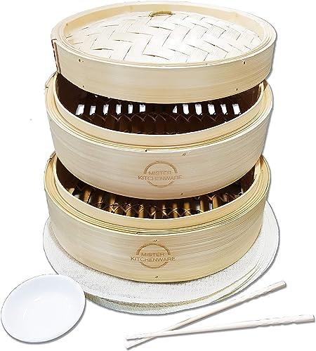 Mister-Kitchenware-Bamboo-Steamer-2-Tier-Baskets