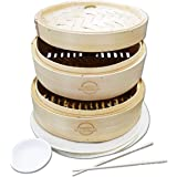 Mister Kitchenware 10 Inch Handmade Bamboo Steamer, 2 Tier Baskets, Healthy Cooking for Vegetables, Dim Sum Dumplings…