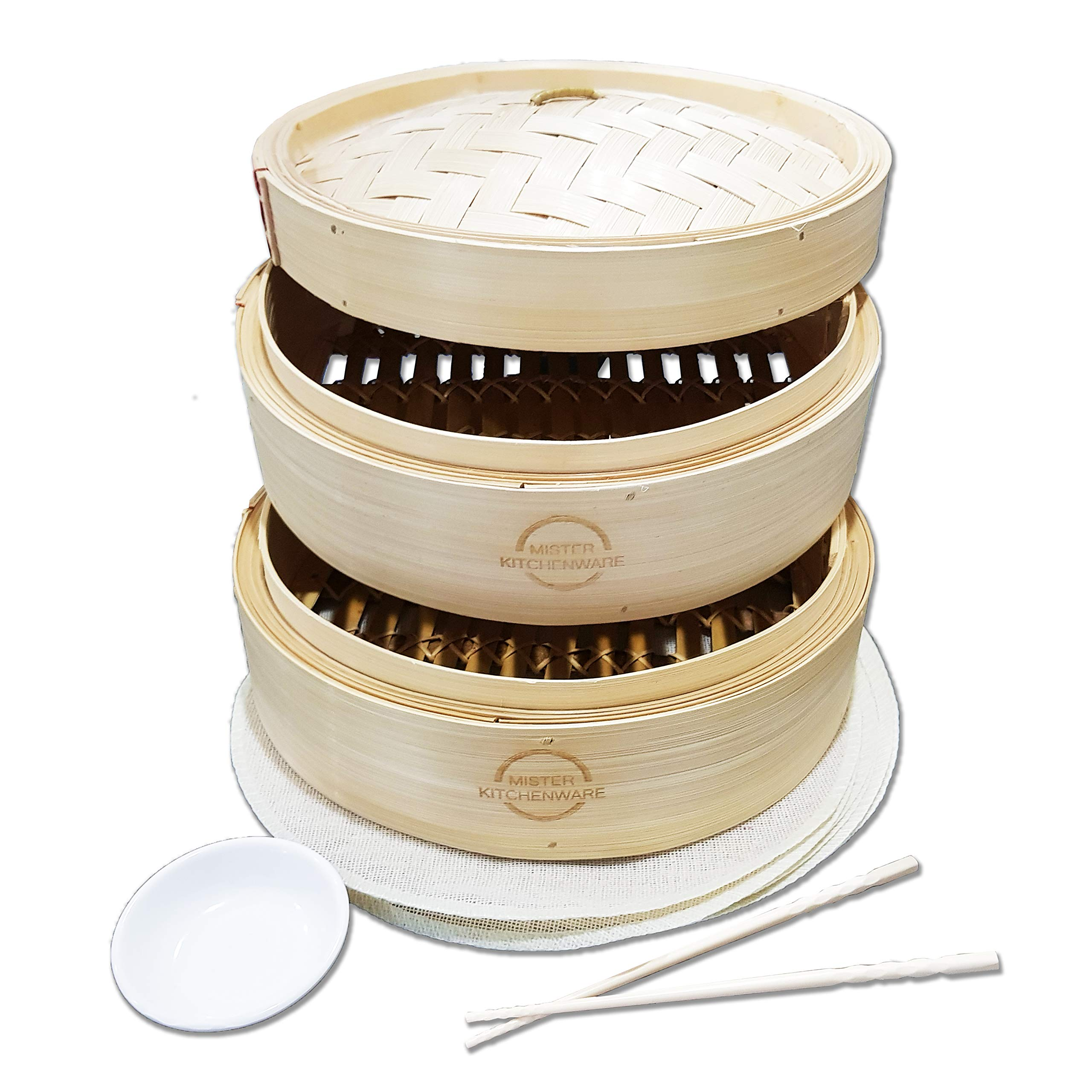 Mister Kitchenware 10 Inch Handmade Bamboo Steamer, 2 Tier Baskets, Healthy Cooking for Vegetables, Dim Sum Dumplings, Buns, Chicken Fish & Meat Included Chopsticks, 10 Liners & Sauce Dish by Mister Kitchenware