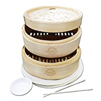 Mister Kitchenware 10 Inch Handmade Bamboo Steamer, 2 Tier Baskets, Healthy Cooking...