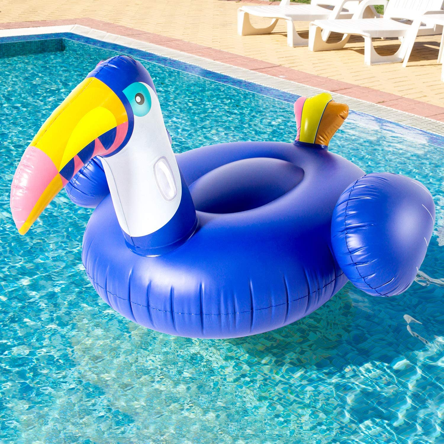 Swimming Pool Raft Lounge Ride-on for Pool Party Beach Best Gift SPERPAND Inflatable Blue Toucan Pool Floats