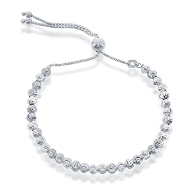 Amazon Beaux Bijoux 925 Sterling Silver Diamond Cut MoonBeads