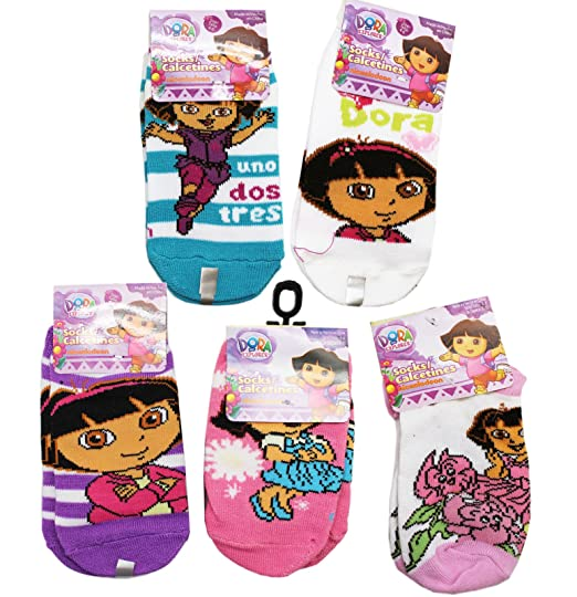 Dora the Explorer Assorted Colors and Designs Kids Sock Set (3 Pairs, Size 4