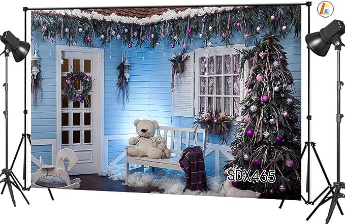 CdHBH 10X8FT Christmas Street Decorations Vinyl Customized Photography Backdrop Photo Background Studio Prop 10796