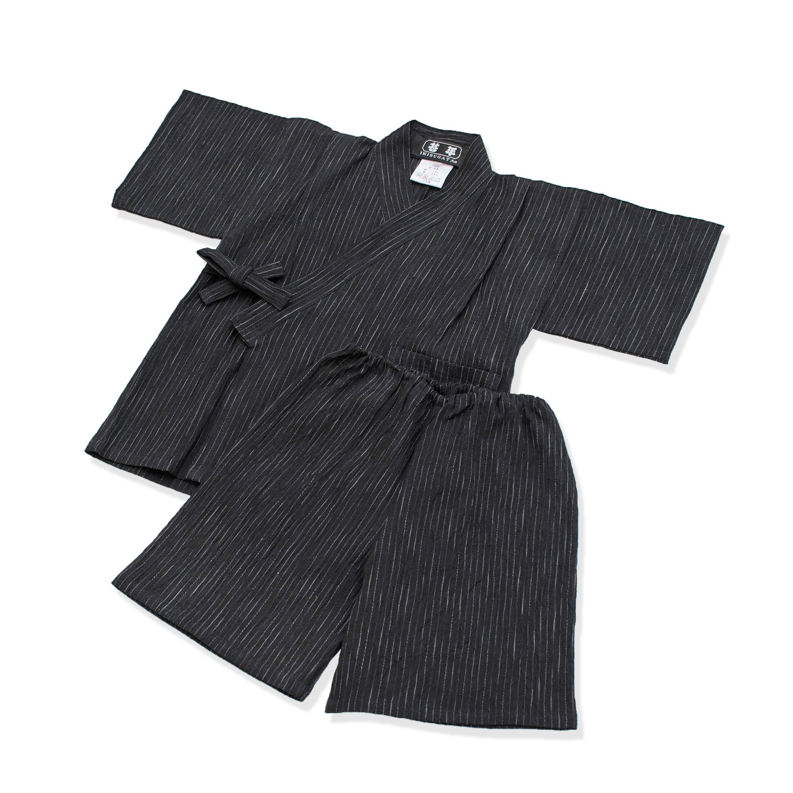 IKISUGATA Kids Jinbei Summertime Casual Wear Omi Chijimi Kasuriori 120 Black