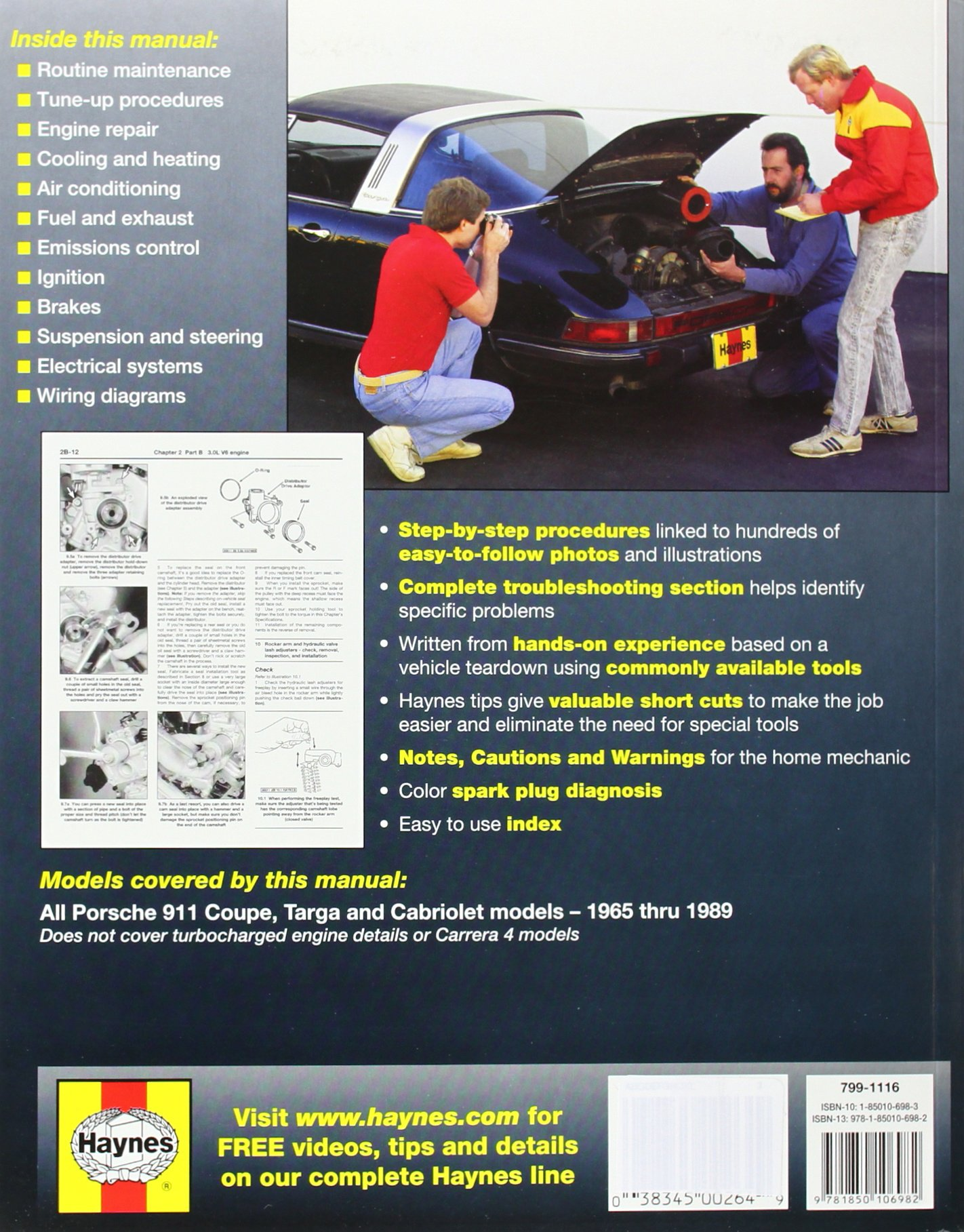 Porsche Brakes Diagram 911 Automotive Repair Manual 1965 To 1989 Coupe Targa Cabriolet Haynes 0038345002649 Books