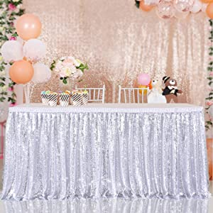 Sequin Table Skirt Tablecloth for Wedding Birthday Party Decoration(Silver, L 6(ft) H 30in)