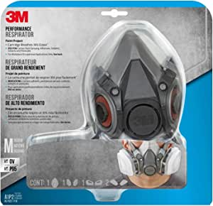 3M Safety Half Facepiece Reusable Respirator All-in-One Kit, M (1 Mask, 1-pair Cartridges, 2-pair Filters and 1-pair Retainers)