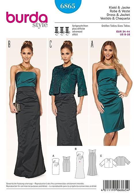 Burda Patrón Nº6865 Style: Vestido y chaqueta de fiesta