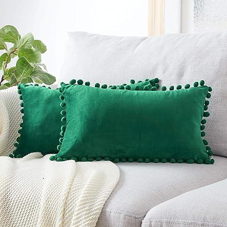 Topfinel juego 2 Hogar cojín terciopelo Decorativa Almohadas Fundas con pelota de color sólido Para Sala de Estar sofás 30x50cm Verde Oscuro