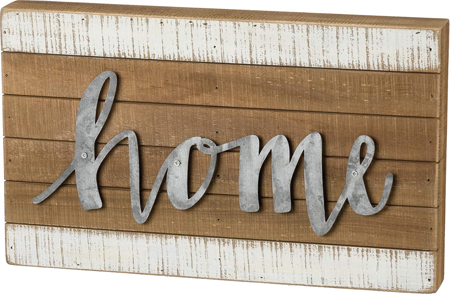 Primitives by Kathy Hand Lettered Slat Wood Box Sign, 15 x 9-Inches, Home