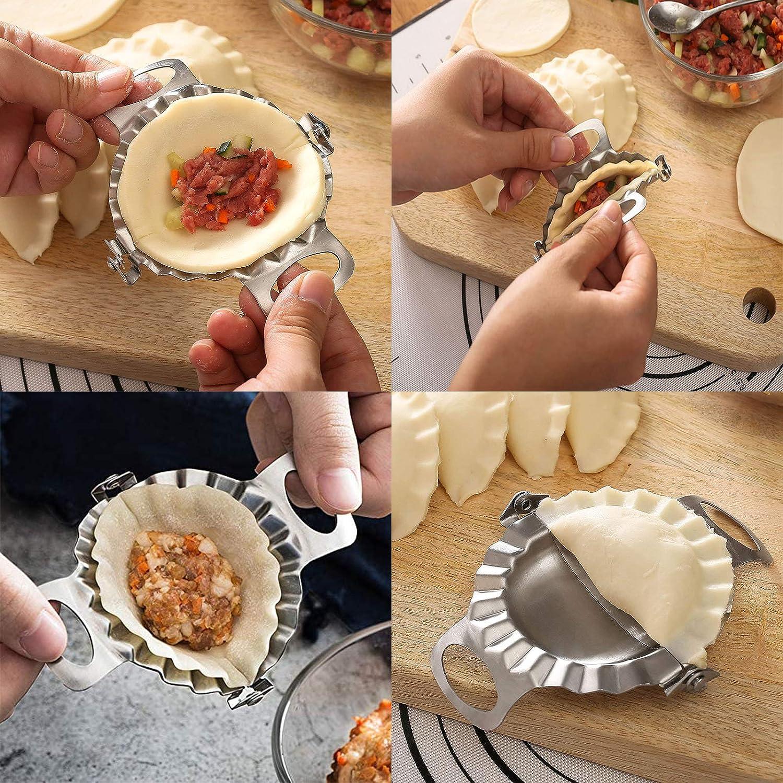 Dumpling Maker Manuales Ravioli Prensa Cortador Maker Masa de Dumpling Molde Masa Herramienta de Cocina Accesorio Moldes Bola de Masa de Acero Inoxidable YUEMING 4 Piezas Molde Empanadillas