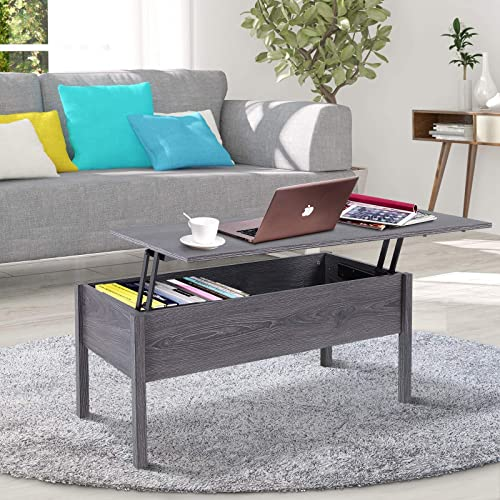 HOMCOM 39 Modern Lift Top Coffee Table Desk with Storage, Light Grey Woodgrain