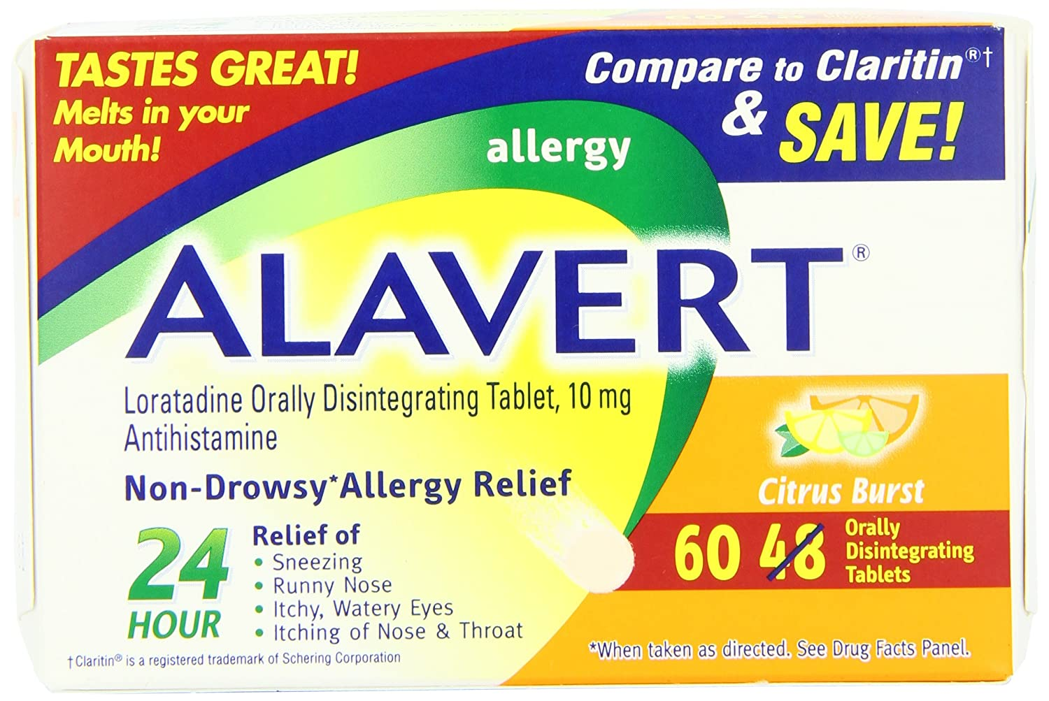 Alavert Allergy 24-Hour Relief (Citrust Burst Flavor Orally Disintegrating  Tablets), Non-Drowsy,