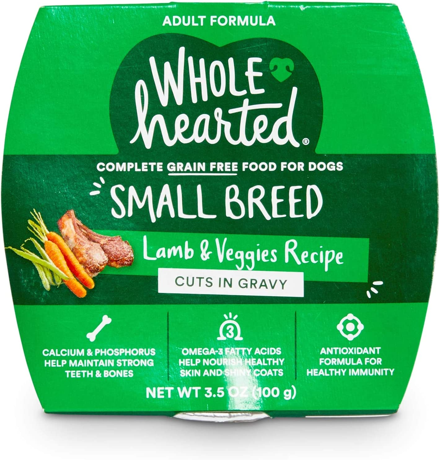 WholeHearted Grain-Free Lamb & Veggies Cuts in Gravy Wet Dog Food, 3.5 oz., Case of 8, 8 X 3.5 OZ