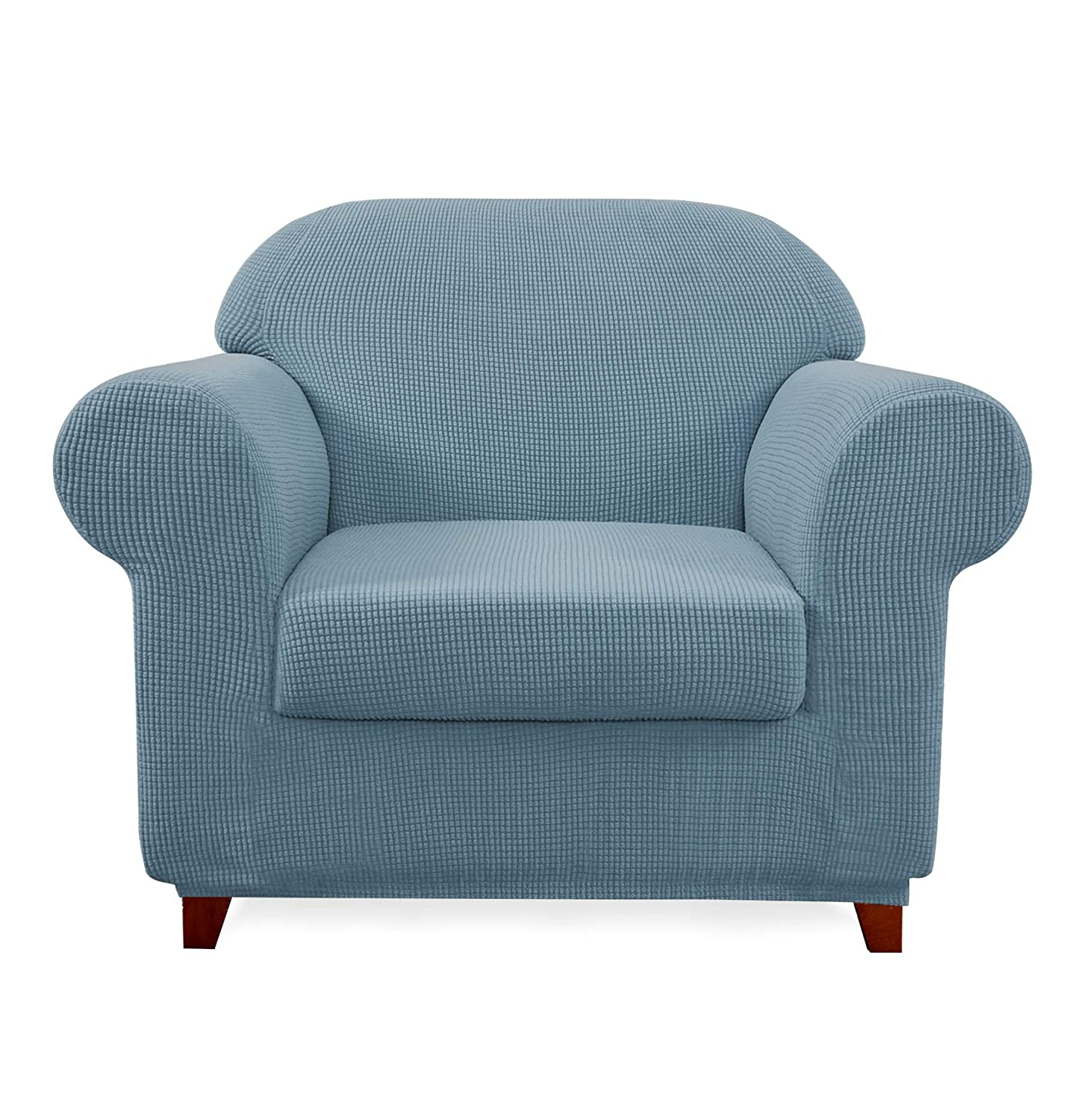 Subrtex 2-Piece Jacquard High Stretch Armchair Slipcover Furniture Protector for Sofa Spandex Washable 1 Seater Cushion Couch Settee Cover Coat (Chair, Steel Blue),
