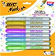 BIC Mark It Metallic Permanent Markers Medium Bullet Tip -Assorted Colours, Pack of 8