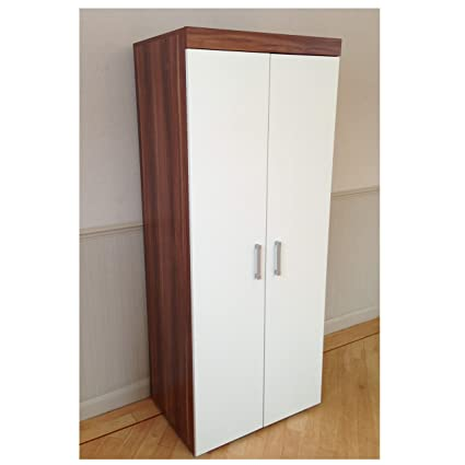 Magnificent Drp Trading 2 Door Double Wardrobe In White Walnut Bedroom Furniture Robe With Hanging Rail Home Interior And Landscaping Ponolsignezvosmurscom